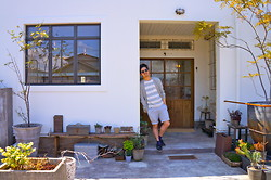 Hajime Yamamoto - Ray Ban Wayfarer Sunglasses, J. Crew Grey Cotton Cardigan, Forever 21 Stripe Tshirt, Uniqlo Short Pants, S.Perry Top Sider Shoes - FREEDOM