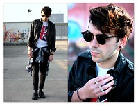 Adrian S. - Vintage Tee With Gb Print, H&M Leather Jacket, Cheap Monday Black Skinny Jeans - Free as a Bird