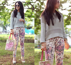 Michelle Koesnadi - H&M Sweater, Romwe Pants, Romwe Bracelet, Yves Saint Laurent Bag, Elizabeth & James Shoes - I HEART FLOWERS