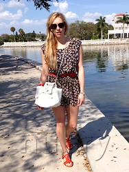 Britt Hackmann - Missoni Sunglasses, Parker Floral Romper, Chanel White Messenger Bag, B Low The Belt Large, Boutique 9 Red Sandals, See By Chloé Red Bangle - A little Red & a little Chanel