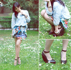 Winnie Isk - Collar Sequin, Zara Flower Mesh, Zara Printed Skirt, Zara Ankle Strap Wedges - Flower mesh + printed.