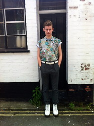 Joe Graham - Topshop Printed Shirt, The Ragged Priest T Shirt, Topman High Waisted Trousers, Topman White Leather Belt, Dr. Martens White - Prints and squints
