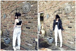 Carmen Ri - Leather Jacket, Faster By Mark Fast Crop Top, Vintage Acid Wash High Waisted Jeans, Converse Platform - Comfortable