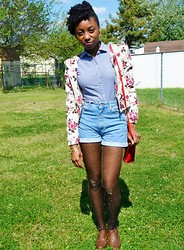 Kebrina Ann - Thirf Store High Waist Shorts, H&M Floral Jacket, Forever 21 Gold Sheer Stockings, Oxfords - Rushed Energy