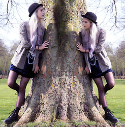 Alice Jones - Second Hand Skirt, Cant Remember Tweed Jacket, Monki Hat, Dr. Martens Boots - Alice and the big tree