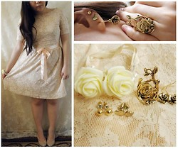 Lee.Sze ♥ - Accessorize Stud Earrings, Zara Lace Dress, Ribbon As A Sash, Beige Pumps, Diy Rose Bracelet, Diva Rose Ring, Diva Rose Earrings - ❀(◡‿◡)❀