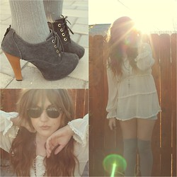 Nadia Deering - Sheer Lace Trimmed Blouse, Thrifted Knee High Socks, Thrifted 80s Sunnies, Demin Booties - Cracked open sky.