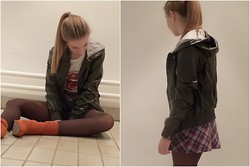 Peti Szendei - 24colours Rubber Jacket, Ebay Checkered Miniskirt, Bullboxer Bright Orange Boots, The Rolling Stones Bandshirt - Little Rolling Stone
