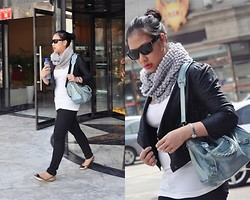 Diana De Belen - Charles & Keith Gold Flats, Generic Faux Leather Jacket, Forever 21 Tank Top, Gap Black Jeans, Scarf, Balenciaga Motorcycle Bag - Poser Alert!