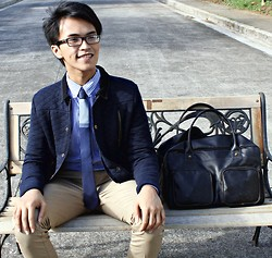Carlo Agdamag - Topman Blazer, Bangkok Button Down, Zara Pants, Leather Tote - Bench Culture