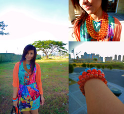 Ganna Athena G - Zara Dress, Zara Long Orange Cardigan, Necklace, Aldo Orange Bracelets, Koket Sky Blue Bracelet - Gee Goes For A Walk