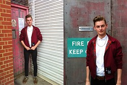 Joe Graham - Harrington Maroon Jacket, Topman White Dress Shirt, Topman Black Stretch Skinny Fit Jeans, Thrift Basic Silver Chain, Vintage Brown Leather Belt, Retrofire Trainers - Retrofire, keep out!