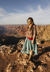 Kristy Eléna - Forever 21 Draped Painted Feather Shirt, Zara Asymmetrical Skirt, No Name Cowboy Boots - Grand Canyon