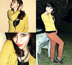 F Esther - Pó De Pimenta Yellow Cardigan, Dellamo Black Lace Tank Top, Tok Camel Pants, Moleca Leopard Shoes - TYPICAL ME, I STARTED SOMETHING AND NOW I'M NOT TOO SURE