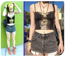 Vera G. - Jeffrey Campbell Studded Booties, Nasty Gal Vintage Shorts, Nasty Gal Crop Top, Matt And Nat Studded Purse Made From Recycled Materials - I've Got Sunshine In a Bag