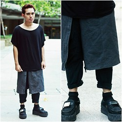 Karl Philip Leuterio - Endovanera Tee, Apron Skirt, Unisex Drop Crotch Pants, Gold Dot Fft Creepers - Muji