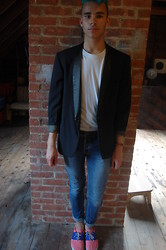 Jackson Teague - Topman Blue Skinny Stretch Jeans - Tuxedo Jacket, but chill