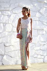 Olivia Lopez - Frontrowshop Super Sunglasses, Love Stone Skirt, Sole Boutique Tan Wedges - Seventies Side Slit