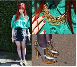 Chloë Carter - Vintage Bright Green Blouse, Vintage Statement Necklace, Topshop Gold And Silver Shoe Boots, Topshop Floral And Black Body Con Skirt, Vintage Black Bag - Shirt Collar and Statement Necklace