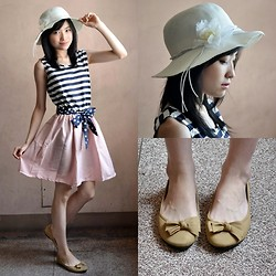 Kayley See - Tagaytay Summer Hat, Camel Bow Flats, Elle Poupee' Femme Fatale Collection Striped And Polkadot Dress - Take It Easy