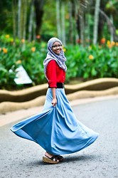 Nana Yana - Forever 21 Shirt, Rnr Collection Long Skirt, Unbranded Shawl, Mod Wedges - Round of Happiness