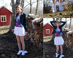 Nadja T - Gina Tricot Galaxy Top, H&M Skirt, Second Hand Jeans Jacket, Diy Flying Shoes - Some Day I'll Fly Away