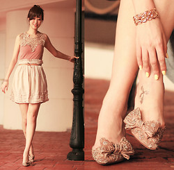Mayo Wo - Becky Bloomwood's Wardrobe Nude Lace Dress, Rose Tatu Tiered Clouds Skirt, Guy & Eva Sunny Bracelet, Fake Tattoos Bow Tattoo, Valentino Embellished Kitten Heels - Embellishments