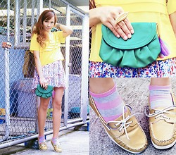 Shai Lagarde - Cps Chaps Yellow Chiffon Top, Call It Spring Gold Slip Ons, Call It Spring Clutch With Feather, Sm Ring And Socks - Sunny disposition - Shai