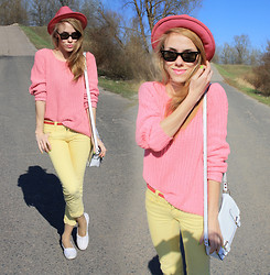Ann O. - Secondhand Sweater, Vans Shoes - YELLOW & PINK