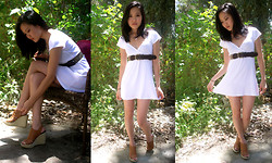 Youtube.com/lilgrlbigworld <--Fashion Tutorials! - Vintage Gladiator Wedges, Vintage Weave Belt, Vintage Heart Necklace, Michael Stars White V Neck Dress - Baby Doll