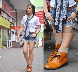 Kissa A. - Bangkok High Cut Oxfords, What A Girl Wants Belt, Mango Scarf, Folded And Hung Studded Leather Bracelet, Femme Denim Shorts - Take Me To The Streets