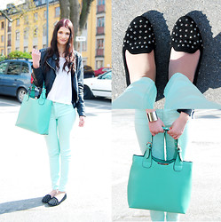 Emma Erixon - Studded Loafers, Mint Bag, H&M Silver Cuff, Cubus Mint Pants - Just another sunny day
