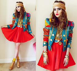Bebe Zeva - Vintage! Quilted Turquoise Jacket, Lulu*S Red Circle Skirt, Jeffrey Campbell Nude Wedges - TUNNEL VISION