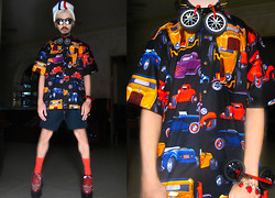 Andre Judd - Racer Stripe Beanie, Car Print Shirt, Diy Lego With Wheels Necklace With Spiked Choker, Studded Flatform Brogues, Polka Dotted Red Orange Socks, Diy Lego With Wheels Cuff - CAR PRINTS