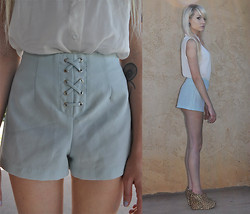 Mollie Paige - Pandora Baby Blue Lace Up Shorts, Jeffrey Campbell 99 Zip Wedges - In a dream, I was a Werewolf... FOR SALE