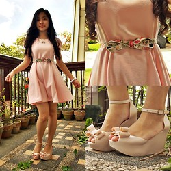 Jamie Lou Borile - Thrifted Pink Dress, Sm City Naga Twisted Floral Belt, Vanilla Co. Candy Bracelet, Melissa Shoes Jelly Wedges - Sweet As I Am