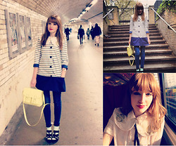Lauren Park - Asos Wedges, Lou Loves You Luniverse Collar, Topshop Jeans, Asos Collarless Stripe Coat, H&M Satchel, H&M Shirt, Topshop Socks - Vogue Festival 2012