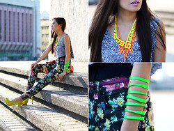 Laureen Uy - Extreme Finds Necklace, American Apparel Top, Veva Deeluxe Bangle, Goyard Bag, Topshop Pants, Sugarfree Shoes - Neon Overload (BMS)