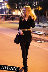 Natalie . - Kookai Bow Shirt, See My Blog! Embellished Belt - Black gold black