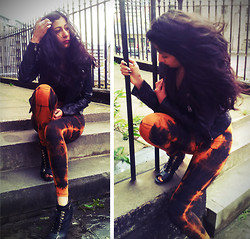 Anjali Punn - Naked Bones Burnt Orange Leggings, Topshop Black Leather Biker Jacket By Boutiqu - Set fire to the rain