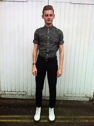 Joe Graham - Vintage Leopard Print Shirt, American Apparel High Waisted Trousers, Dr. Martens White Docs - Urban jungle fever.