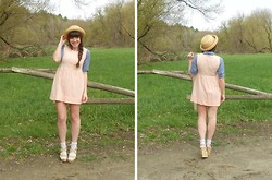 Caitlin Flood - Thrifted Terrycloth Dress, Tjmaxx Chambray Tunic, Thrifted Straw Hat, Diva Lounge Floral Wedges - Nobody puts baby in the corner