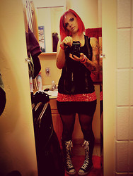 Sarah Toole Avery - Frosted Crossbones Pink Licorice Rope, Hot Topic Studded Tank, Rue 21 Ribbed Tube Skirt, Rue 21 Pink/Red Leopard Tank, Express Criss Cross Fishnet Tights, Converse Knee High, Guess? Pink Glitz Watch - Shins Show Outfit