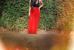 Erika Eng - Forever 21 Red Pleated Maxi Skirt - SHAKE IT OUT