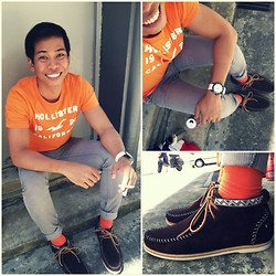Alvin Miranda - Hollister Tangerine Tee, Folded&Hung Gray Corduroy Pants, H&M Orange Socks, Hudson Springs Brown Suede Lace Moccasin Boots - Tangerine Friday