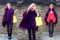 Lena Gatsenko - Kurt Geiger Boots, Furla Bag, Burberry Poncho, Best Behaviour Cardigan, Mango Top, Vintage Broch, Guess? Jeanse - Geometry Lesson