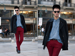 Billy Hazel - Asos Burgundy Jeans, Lacoste Vintage Denim Shirt - Cap, Chain and it's SPRING!
