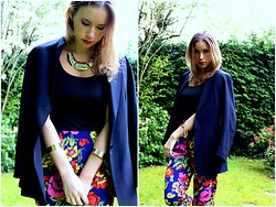 Arina T-S - Jigsaw Navy Blazer, River Island Floural Print Trousers - Every man casts a shadow