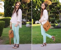 Jessica Wu - Old Navy Sweater, Zara Jeans, Oasap Bag, Target Shoes, Beginning Boutique Necklace, Forever 21 Sunglasses - Mint & Cream
