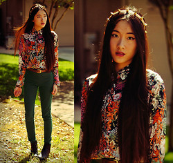 Jennifer Wang - Urban Outfitters Spiked Headband, Romwe Floral Print Shirt, Vintage Brown Belt, H&M Green Pants, Vintage Short Boots - GARDEN OF THORNS